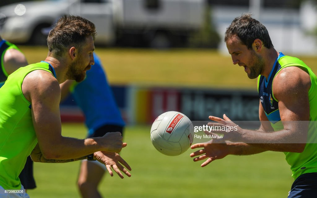 Mandurah , Australia - 14 November 2017; Zach Tuohy and Michael Murphy during Ireland International Rules Squad training at Bendigo Bank Stadium, Mandurah, Australia.
