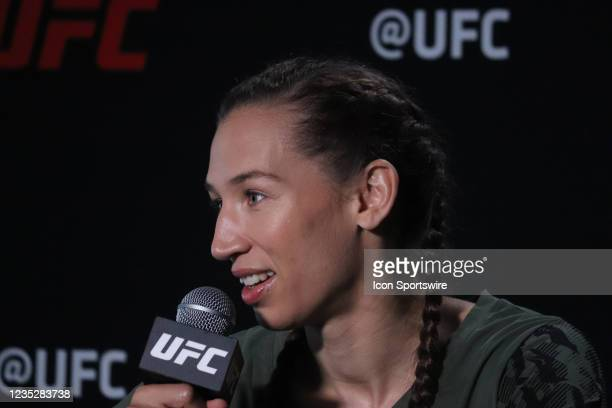 Mandy Bohm interacts with media during the UFC Vegas 37 Media Day on September 15, 2021 at UFC Apex in Las Vegas, Nevada.