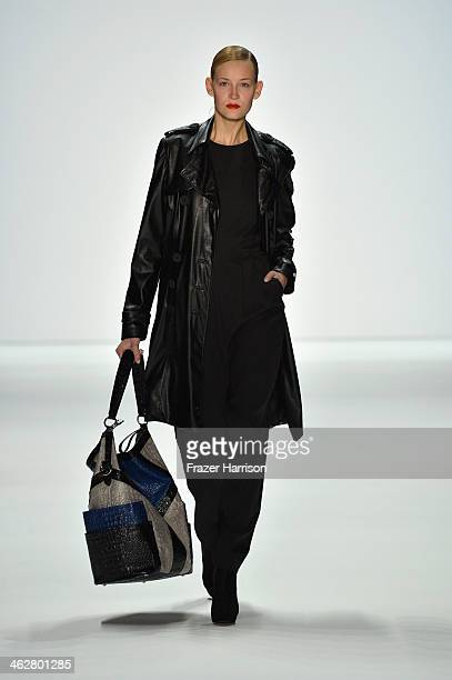 Mandy Borg walks the runway at the Marcel Ostertag show during MercedesBenz Fashion Week Autumn/Winter 2014/15 at Brandenburg Gate on January 15 2014...