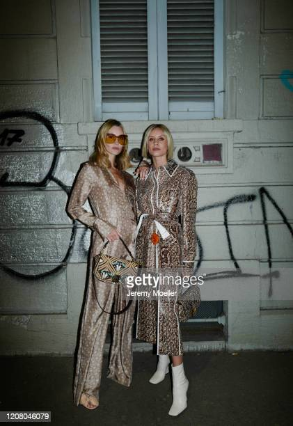 Mandy Bork and Lisa Hahnbück are seen wearing a complete Fendi look before Fendi during Milan Fashion Week Fall/Winter 20202021 on February 20 2020...
