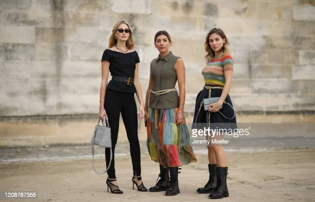 Mandy Bork Aylin Koenig and Ann Kathrin Goetze are seen wearing a complete Dior look outside Dior during Paris Fashion Week Womenswear Fall/Winter...