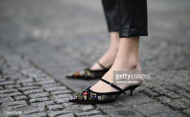 Mandy Bork wearing Christian Dior shoes and Lyvem pants on March 07 2019 in Berlin Germany