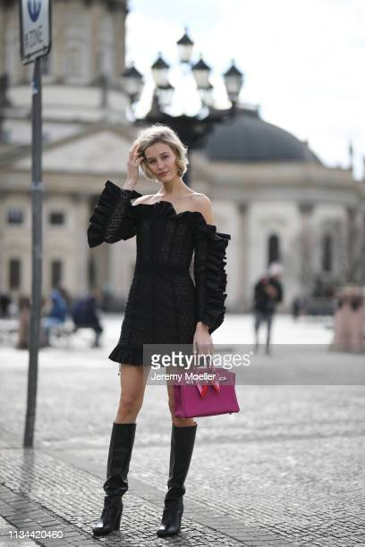 Mandy Bork wearing Hermes Birkin bag Numeroter dress HM shoes on March 07 2019 in Berlin Germany