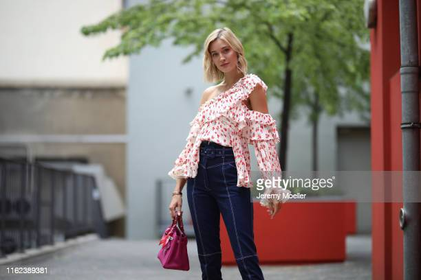Mandy Bork wearing Messika chain Dior earring Cartier bracelet tatman handmade pants selfportrait blouse aquazurra shoes and Hermes bag on July 02...