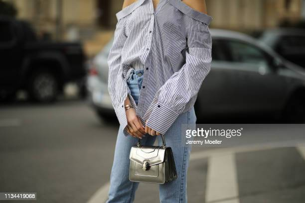 Mandy Bork wearing Nakd jeans, Dior shoes, Storets blouse and Bulgari bag on March 07, 2019 in Berlin, Germany.