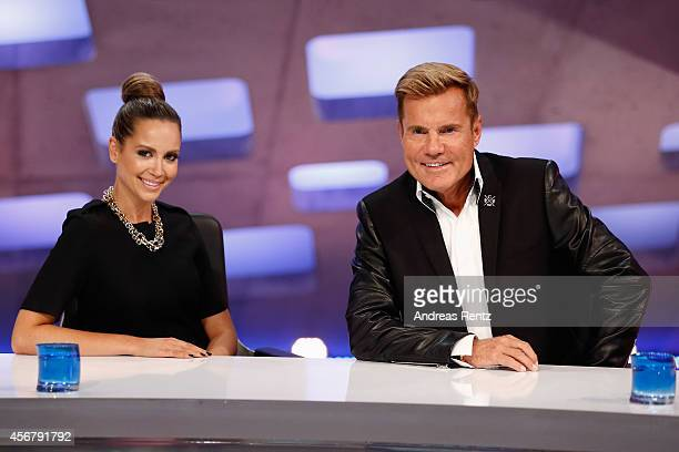 Mandy Capristo and Dieter Bohlen attend the 'Deutschland sucht den Superstar' jury photocall on October 7 2014 in Cologne Germany