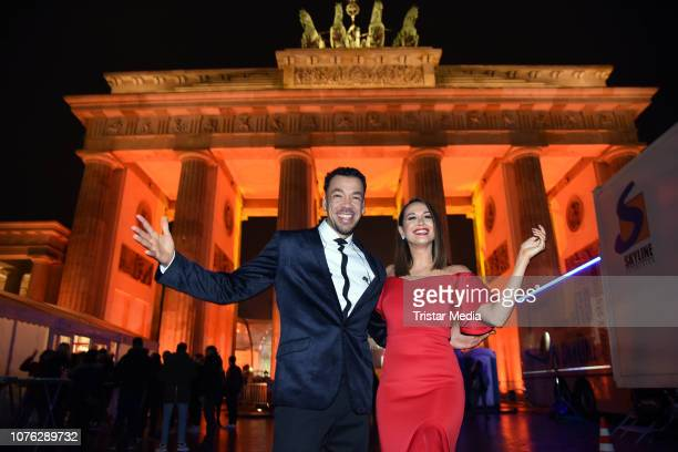 Mandy Capristo and Larsito during the ZDF TV Show 'Willkommen 2019' New Years Eve Party at Brandenburg Gate on December 31 2018 in Berlin Germany