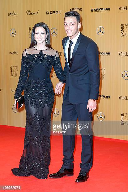 Mandy Capristo and Mesut Oezil attend the Kryolan At Bambi Awards 2015 Red Carpet Arrivals on November 12 2015 in Berlin Germany