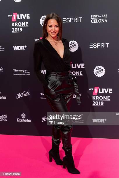 Mandy Capristo arrives for the 1Live Krone radio award at Jahrhunderthalle on December 5 2019 in Bochum Germany