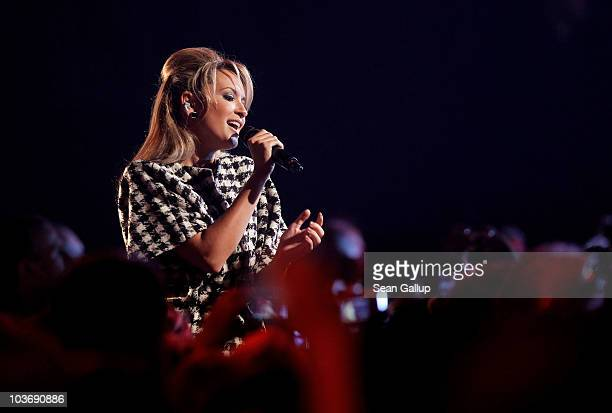 Mandy Capristo of the German girl band Monrose performs at The Dome 55 on August 27 2010 in Hannover Germany