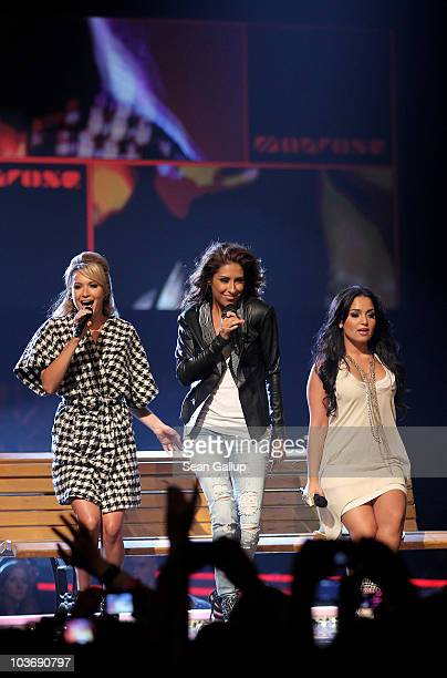 Mandy Capristo Senna Guemmour and Bahar Kizil of the German girl band Monrose perform at The Dome 55 on August 27 2010 in Hannover Germany