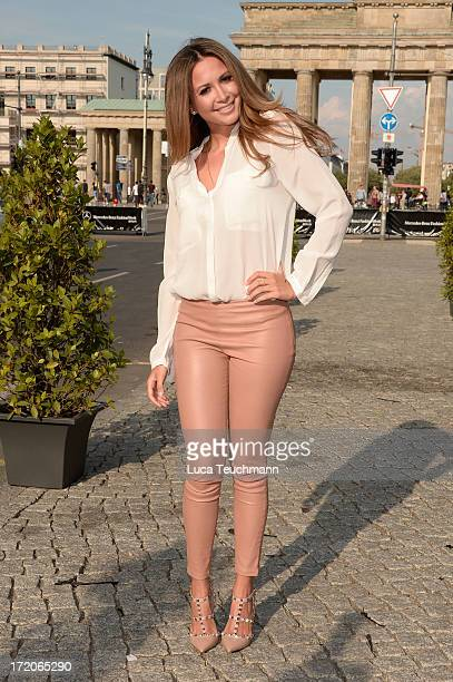 Mandy Capristo wears Valentino shoes and pants from The Row as she attends the MercedesBenz Fashion week spring and summer 2014 at the Brandenburg...