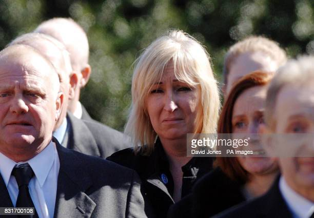 Mandy Carter arrives for the funeral of her partner Roddy Hine at All Saints Church Leek Staffordshire Tuesday April 4 2006 Ms Carter's partner and...
