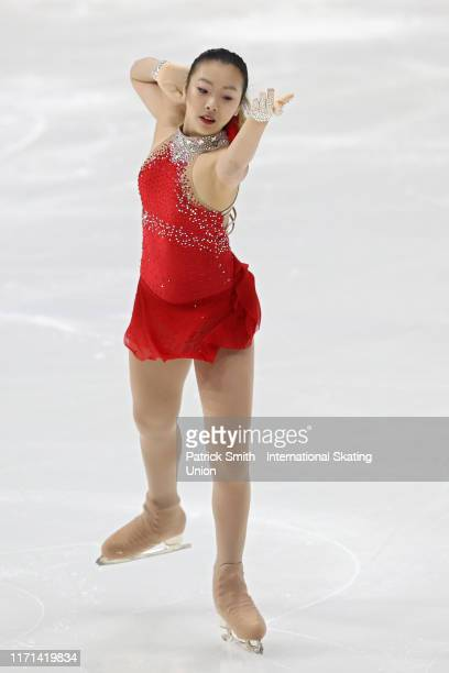 Mandy Chiang of Taipei performs in the Junior Ladies Free Skate during Day 3 of the ISU Junior Grand Prix of Figure Skating at Herb Brooks Arena on...