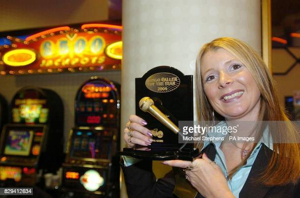 Mandy Gargan from Flutters bingo club Coalville Leicestershire after winning the final of Bingo Caller of the year at the Beacon Bingo Club in...