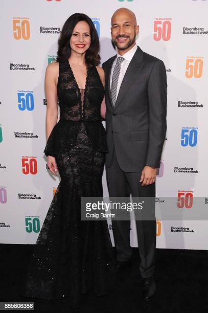 Mandy Gonzalez and KeeganMichael Key attend 'The Bloomberg 50' Celebration at Gotham Hall on December 4 2017 in New York City