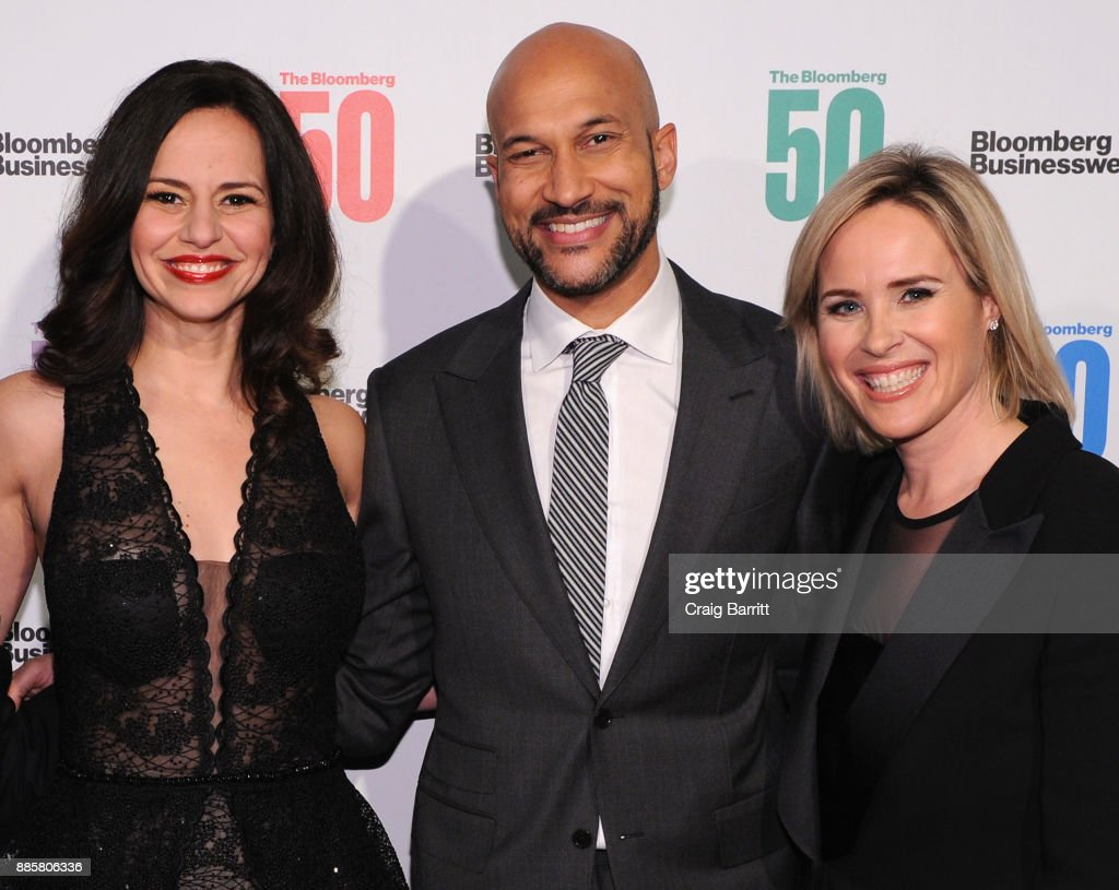 Mandy Gonzalez, Keegan-Michael Key, and Bloomberg Businessweek Editor in Chief Megan Murphy attend 'The Bloomberg 50' Celebration at Gotham Hall on December 4, 2017 in New York City.