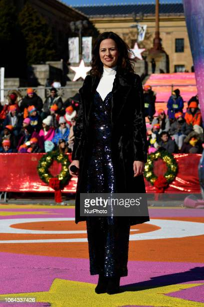 Mandy Gonzalez performs during the live broadcast of the 99th 6ABC/Dunkin' Donuts Annual Thanksgiving Day parade at the Art Museum Steps in...