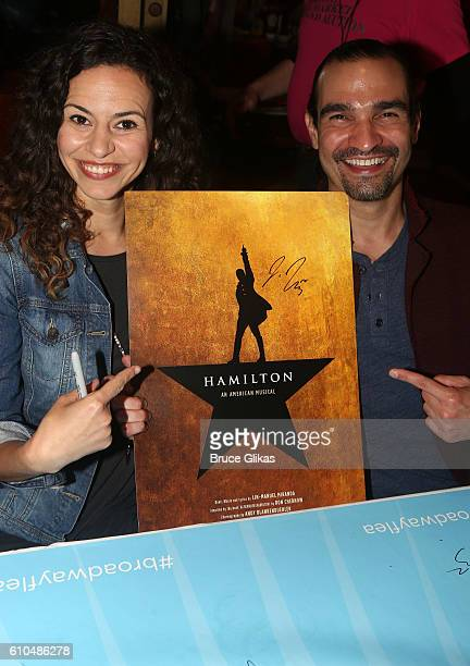 Mandy Gonzalez who plays Angelica Schuyler and Javier Munoz who plays Alexander Hamilton in Hamilton poses at the Broadway Cares/Equity Fights AIDS...