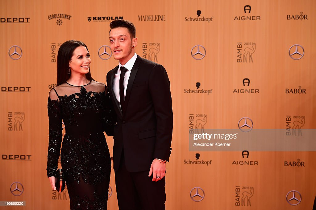 Mandy Grace Capristo and Mesut Oezil attends the Bambi Awards 2015 at Stage Theater on November 12, 2015 in Berlin, Germany.