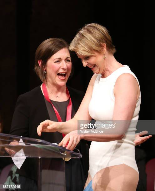 Mandy Greenfield and Cynthia Nixon on stage at the 2017 The Lilly Awards at Playwrights Horizons on May 22 2017 in New York City