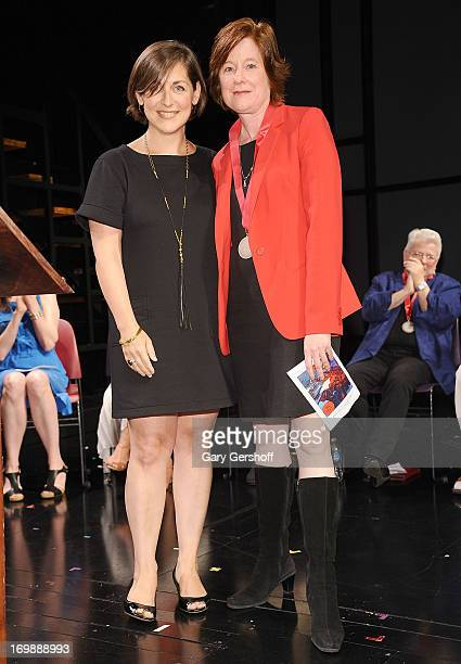 Mandy Greenfield and Julie Crosby recipient of the NonProfit Producer Award on stage at The Lilly Awards at Playwrights Horizons on June 3 2013 in...