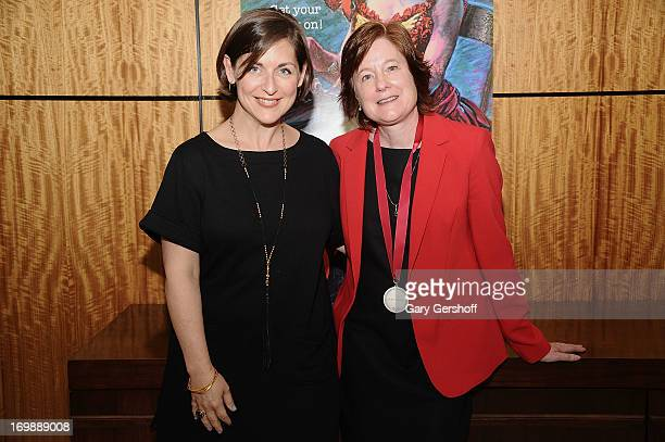 Mandy Greenfield and Julie Crosby recipient of the NonProfit Producer Award backstage at The Lilly Awards at Playwrights Horizons on June 3 2013 in...
