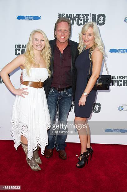 Mandy Hansen Sig Hansen and June Hansen attend the premiere of the 10th season of Deadliest Catch at ArcLight Cinemas on April 22 2014 in Hollywood...