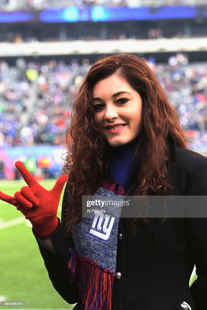 Mandy Harvey performs The National Anthem at the Philadelphia Eagles vs New York Giants game at MetLife Stadium on December 17, 2017 in East Rutherford, New Jersey.