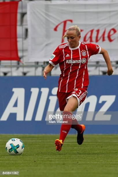 Mandy Islacker of Bayern Muenchen in action during the women Bundesliga match between Bayern Muenchen and SC Freiburg at Stadion an der Gruenwalder...