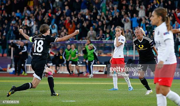 Mandy Islacker of Frankfurt celebrates with team mate Kerstin Garefrekes after scoring the winning goal during the UEFA Women's Champions League...