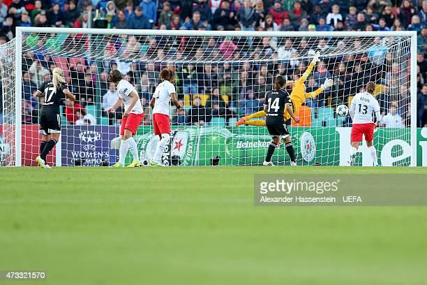 Mandy Islacker of Frankfurt scores the winning goal during the UEFA Women's Champions League final match between 1 FFC Frankfurt and Paris St Germain...