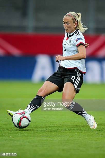 Mandy Islacker of Germany controls the ball during the UEFA Women's Euro 2017 Qualifier match between Germany and Russia at BRITAArena on October 22...