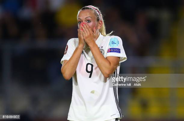 Mandy Islacker of Germany Women reacts after missing a chance during the UEFA Women's Euro 2017 Group B match between Germany and Sweden at Rat...