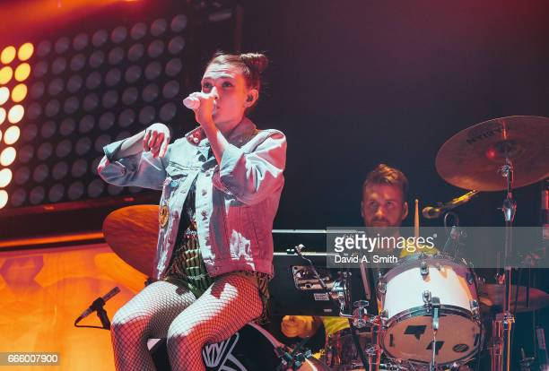 Mandy Lee and Etienne Bowler of MisterWives perform at Legacy Arena at the BJCC on April 7, 2017 in Birmingham, Alabama.