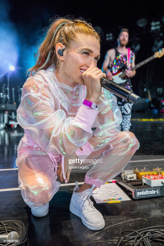 Mandy Lee of Misterwives performs at DTE Energy Music Theater on June 12, 2018 in Clarkston, Michigan.