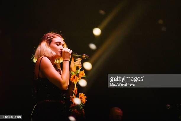 Mandy Lee of MisterWives performs at Staples Center on November 01, 2019 in Los Angeles, California.