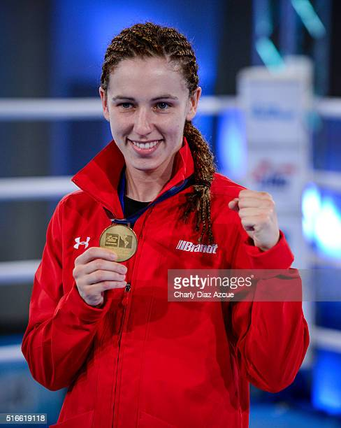 Mandy Marie Brigit Bujold of Canada poses with her medal after the Women's Fly category as part of American Olympic Qualification Event Buenos Aires...