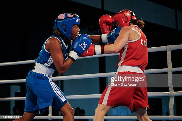 Mandy Marie Brigitte Bujold of Canada fights against Lorena Valencia Victoria of Colombia during the Women's Fly category as part of American Olympic...