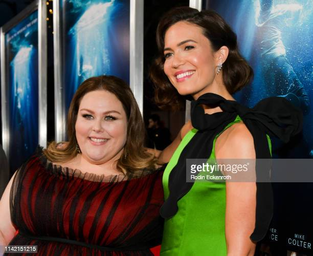 Mandy Moore and Chrissy Metz attend the premiere of 20th Century Fox's Breakthrough at Westwood Regency Theater on April 11 2019 in Los Angeles...