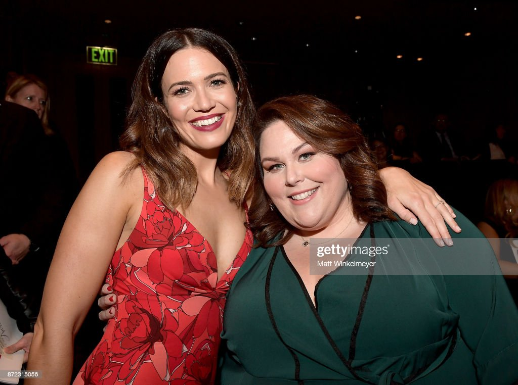 Mandy Moore (L) and Chrissy Metz attend the SAG-AFTRA Foundation Patron of the Artists Awards 2017 at the Wallis Annenberg Center for the Performing Arts on November 9, 2017 in Beverly Hills, California.