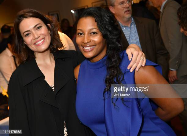 Mandy Moore and film subject Jessica attend the Los Angeles Premiere of Foster From HBO on April 22 2019 in Los Angeles California