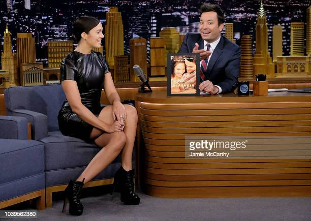 Mandy Moore and host Jimmy fallon during a segment on The Tonight Show Starring Jimmy Fallon at Rockefeller Center on September 24 2018 in New York...
