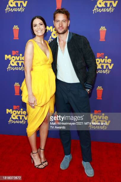 Mandy Moore and Justin Hartley attend the 2021 MTV Movie & TV Awards at the Hollywood Palladium on May 16, 2021 in Los Angeles, California.