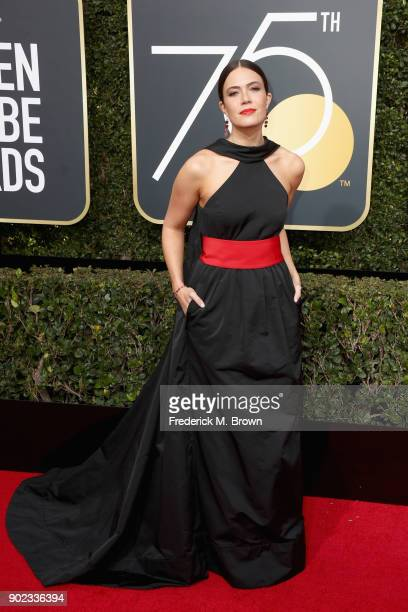 Mandy Moore attends The 75th Annual Golden Globe Awards at The Beverly Hilton Hotel on January 7 2018 in Beverly Hills California