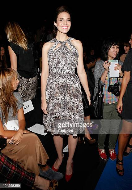 Mandy Moore attends the Monique Lhuillier Spring 2012 fashion show during MercedesBenz Fashion Week at The Theater at Lincoln Center on September 10...