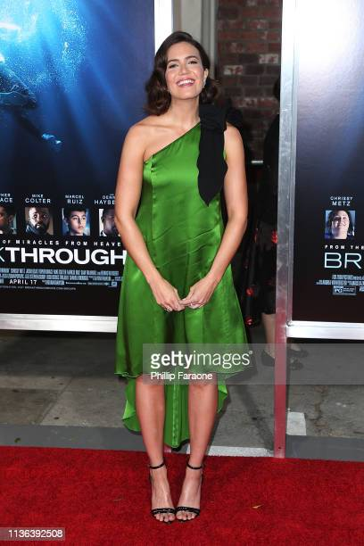 Mandy Moore attends the premiere of 20th Century Fox's Breakthrough at Westwood Regency Theater on April 11 2019 in Los Angeles California