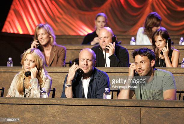 Mandy Moore Bruce Willis Michael Chiklis Ben Affleck and Sarah Michelle Gellar at the phone bank during 'Shelter from the Storm A Concert for the...