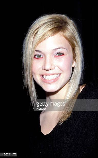 Mandy Moore during Tommy Hilfiger Fall 2000 Fashion Show Backstage at Macy's in New York City New York United States