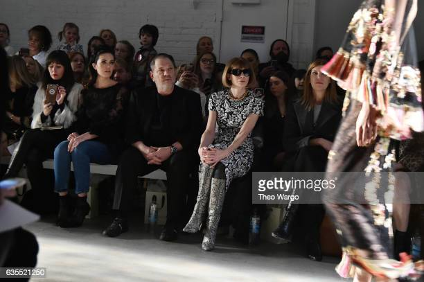 Mandy Moore Harvey Weinstein and Anna Wintour attend the Marchesa fashion show during New York Fashion Week The Shows at Gallery 2 Skylight Clarkson...